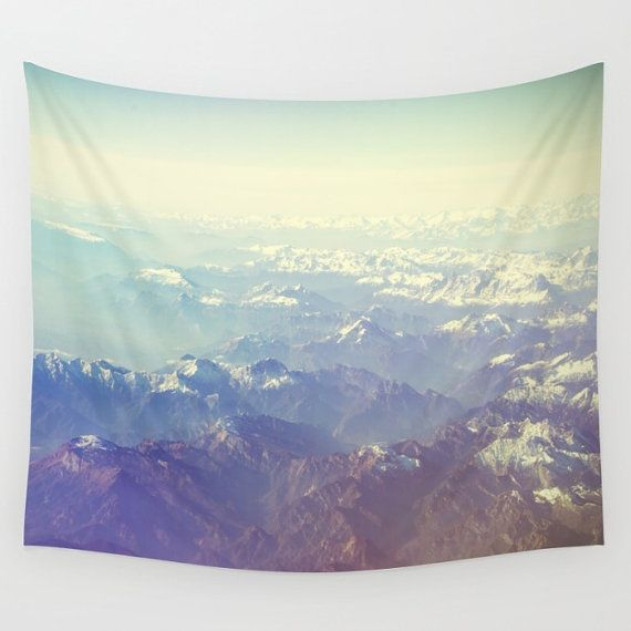Mountain tapestry, white tapestry, mountain wall art, photo tapestry, large wall hanging, white décor, minimalist, oversized, mountains