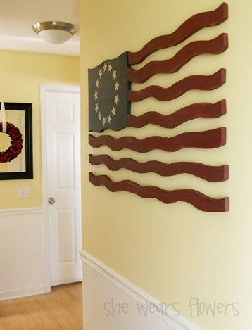Great tutorial on how to make this awesome wooden flag - this would make a great display on any wall in the house! [Great for 4th of July Decor] you can make it as big or as small as you like.