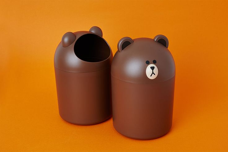 Naver Line Friends Store Official Products Brown Mini Trash Can #NaverLineFriendsStore