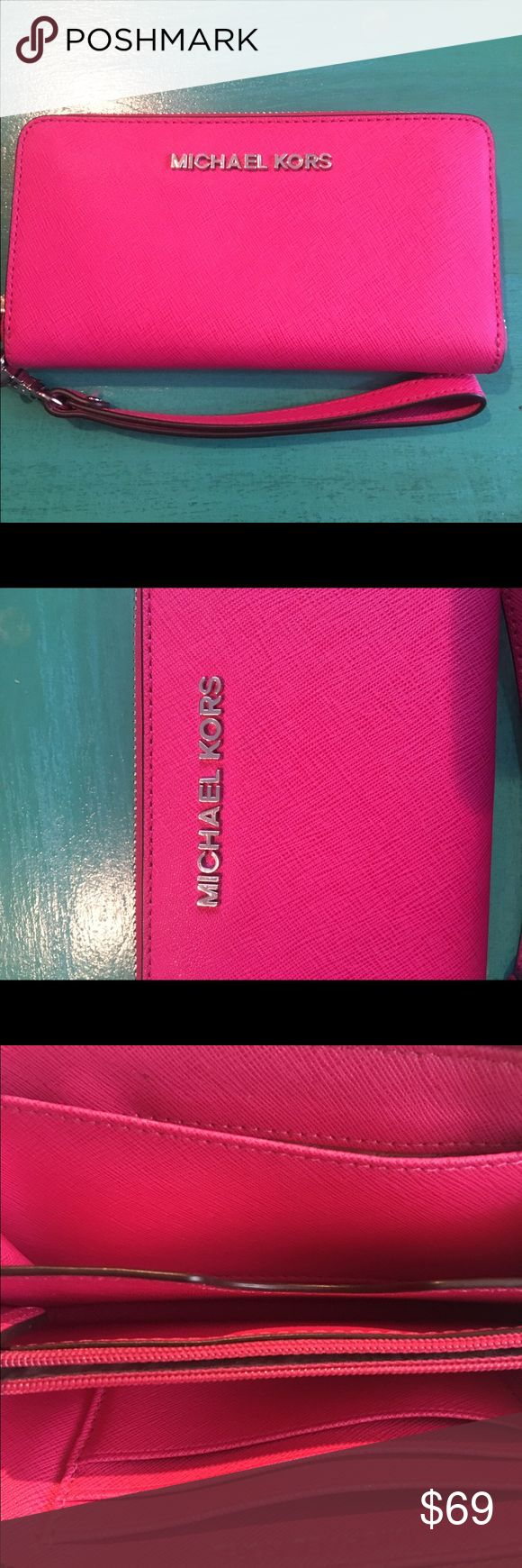 Michael Kors Jetset Small Wristlet. Brand New! Michael Kors Jetset Wristlet! Brand New, Never Used, No tags. Beautiful bright Raspberry color perfect for spring. This is a smaller sized Wristlet but should fit most smartphones! Purchased this year 2017 from Nordstrom. Michael Kors Bags Clutches & Wristlets