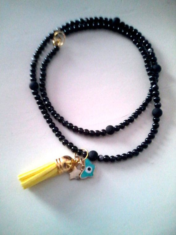 New Black charm necklace by KaterinakiJewelry on Etsy, $7.00
