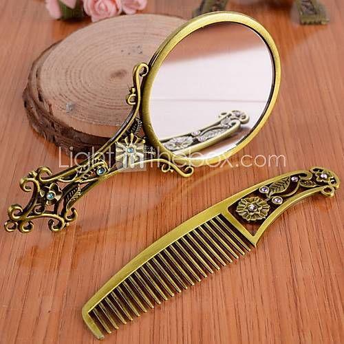 Mango hueco de bronce espejo de mano peine peine maquillaje regalo antiguo…
