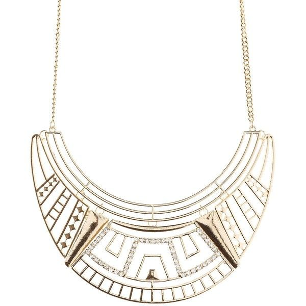Charlotte Russe Rhinestone-Studded Geometric Bib Necklace (1.675 HUF) ❤ liked on Polyvore featuring jewelry, necklaces, gold, rhinestone jewelry, charlotte russe, rhinestone bib necklace, rhinestone necklace and geometric jewelry