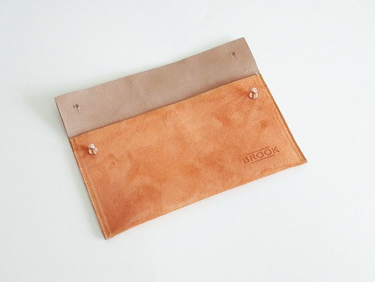 Leather Purse, Suede Clutch, Orange, Handbag, Handmade by Brookleathergoods on Etsy