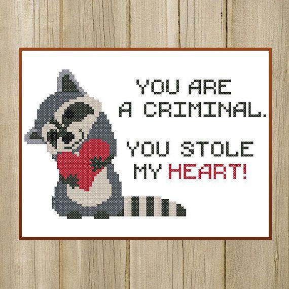 PDF. Raccoon cross stitch pattern. You stole my by SecretFriends