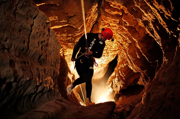 Into the Abyss. Spelunking here is about the funnest thing you can do. - Waitomo Caves, NZ