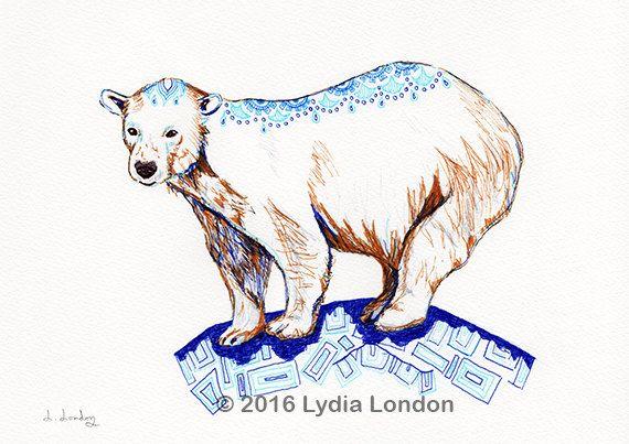 Polar Bear Letter Size Digital Print by LydiaLondonArtCanada
