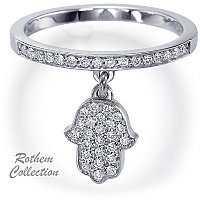 Evil Eye protection Hamsa diamond charm on diamond wedding band, featuring 40 round diamonds totaling 0.23 carat by Rothem Collection.