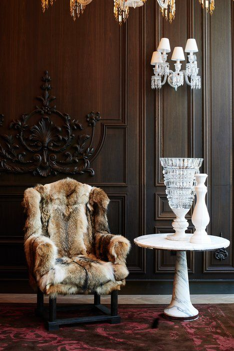 Baccarat Hotel in Manhattan. Via Condé Nast Traveler. Photo by Peden & Munk. Over the top dripping in luxe!