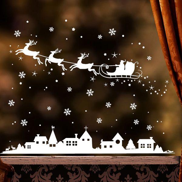 Fensterschmuck - Wandtattoo Fensterbild Weihnachtsmann Winterstadt  - ein Designerstück von wandtattoo-loft bei DaWanda