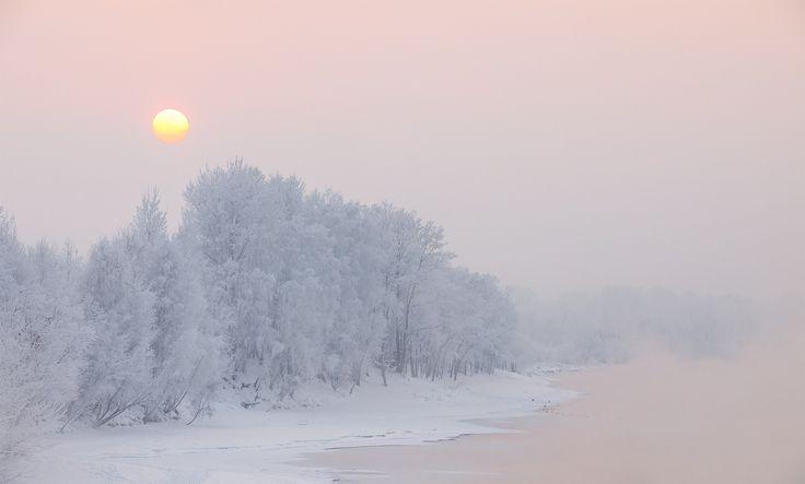 Frosty winter on the Yenisei River in Siberia in the Krasnoyarsk region, Russia