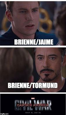 I'm Brienne x Tormund, but I fully insist that Brienne and Jaime become and remain BFFs ♡♡♡ I kind of love Cersei tbh, but after that finale I sort of think Jaime may wind up killing her. I'm currently loving the super impossible Jaime x Ellaria ship based entirely on aesthetic reasons (THEY WOULD LOOK SO PRETTY TOGETHER), but as far as actual characterization, I kind of like Jaime and, uh, Bronn DON'T JUDGE ME OKAY I KNOW IT'S WEIRD ♡♡♡