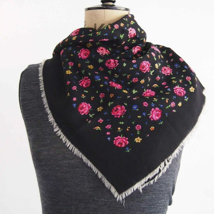 Vintage black and rose printed wool scarf Vintage wool scarf with small rose print in rich colours with narrow white fringe on edges