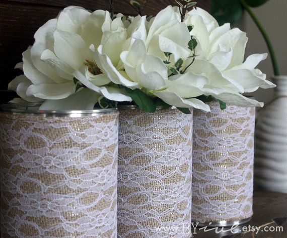 Tin Can Wedding Vase. Burlap and Lace. Upcycled Weddings. Set of 3. Rustic Centerpiece Vase.