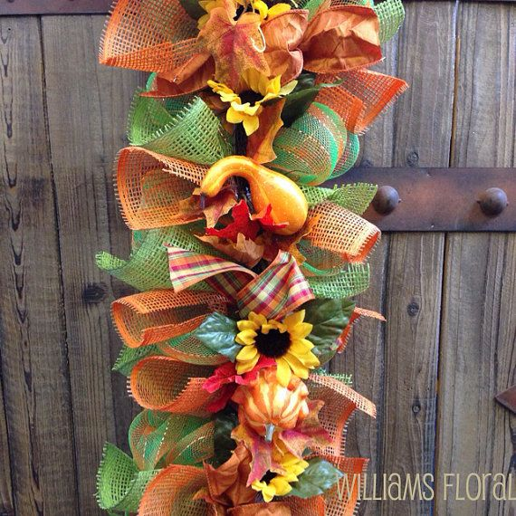 Fall Mesh Garland g1 by WilliamsFloral on Etsy, $130.00