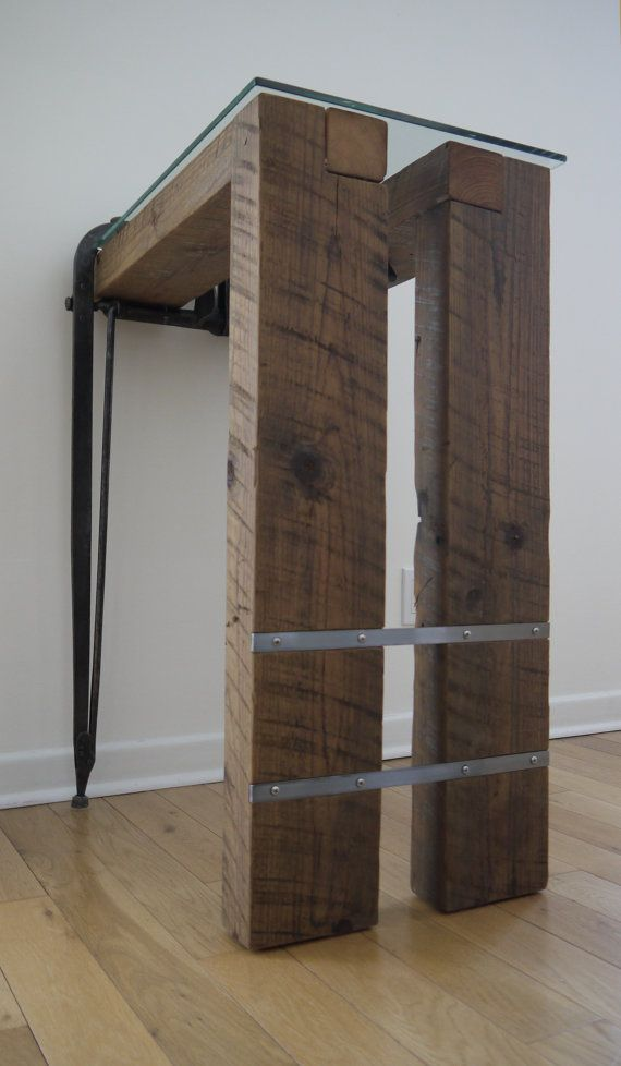 Reclaimed Wood and Glass Computer Desk. Barn Wood by TicinoDesign
