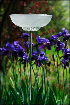 Garden birdbath from old light fixture ~ neat idea!