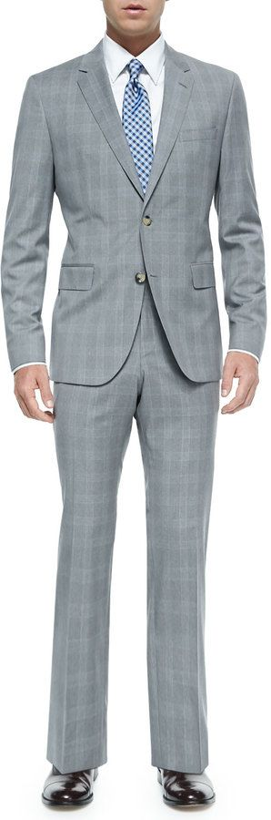 $597, Grey Plaid Suit: Hugo Boss Boss Plaid Two Piece Suit Grayblue. Sold by Neiman Marcus. Click for more info: http://lookastic.com/men/shop_items/135383/redirect