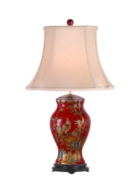 Asian lamp shades 25 pinterest chinese red lacquer porcelain vase bird table lamp shade and finial 27 mozeypictures Choice Image