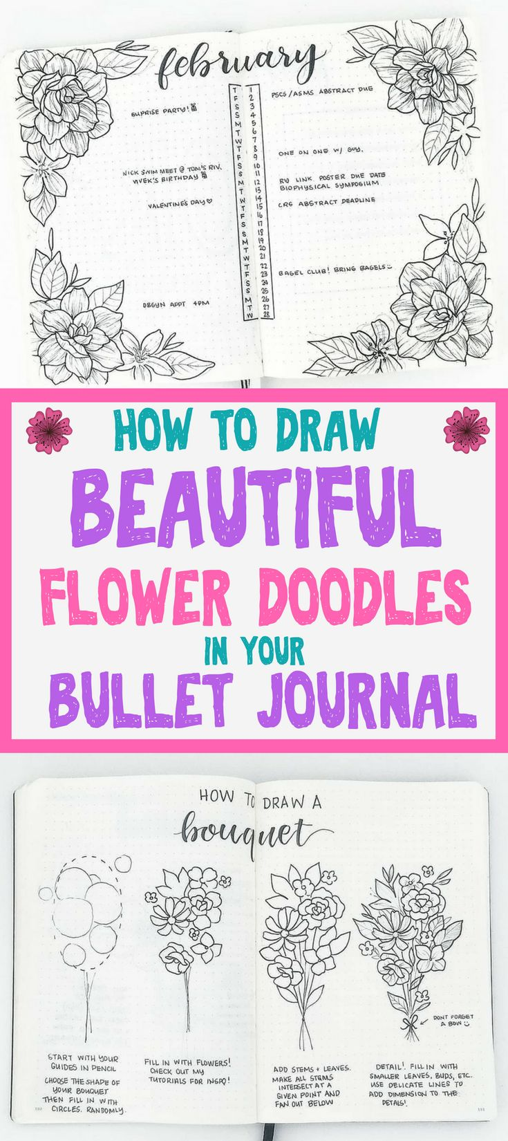 How to draw BEAUTIFUL flower doodles in your bullet journal. These flower doodles are amazingly easy and fun. These tutorials will teach how you to decorate your bullet journal with 15 different types of gorgeous flowers.
