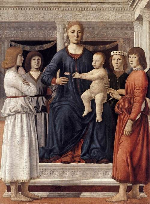 Piero della Francesca: Madonna and Child Attended by Angels (1460-65) Oil on Wood