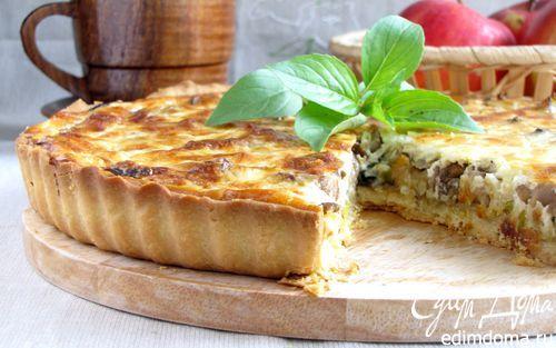 Пирог с луком-пореем и белыми грибами | Кулинарные рецепты от «Едим дома!»---Pilze und Lauch Quiche----