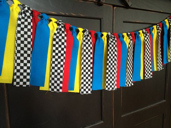 Race Car Rag Tie Fringe Garland, Banner, Bunting, Backdrop, Swag, Photo Prop in Cotton Fabric Strips