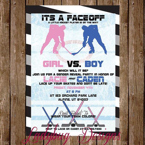 Hockey Gender Reveal Invitation by LadyBugDesignPro on ...