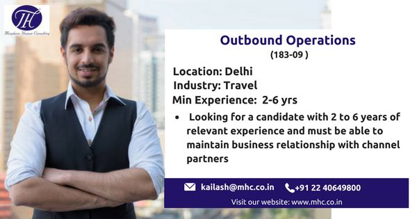 We are looking for an experienced Outbound Operations for our client which is in Travel industry to be based out in Delhi.