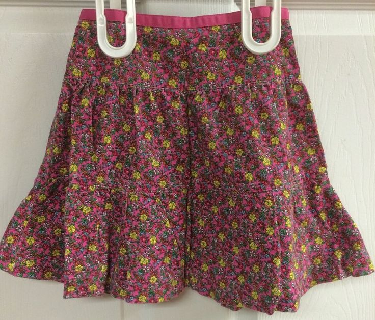 Ralph Lauren Girls Pink Floral Soft Corduroy Pleated Flare Balloon Skirt Size 4…