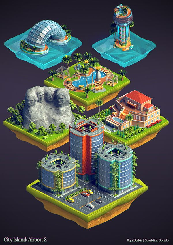 Isometric buildings: City Island Airport 2 on Behance