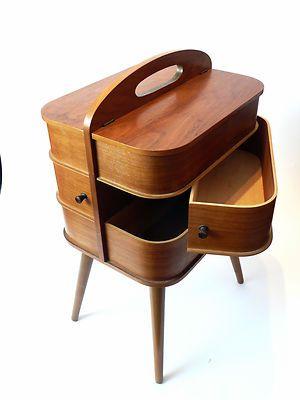 Vintage 1970s SEWING BOX Danish Modern Teak Mid Century Eames Panton