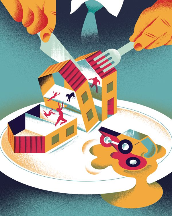 Editorial illustration for New Statesman Magazine, on 'The dying of the middle-class dream'.