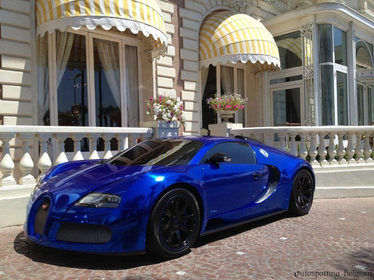 Chrome blue bugatti veyronamazing color cool car