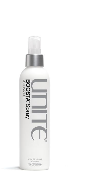 BOOSTA Spray - UNITE  Indispensable when you heat-style or blow dry. BOOSTA builds body giving your hair lift and weightless volume.  • Builds body and weightless volume  • Enhances texture  • Delivers a healthy sheen finish  • Free of Parabens and Sodium Chloride  www.mixedcosalon.com