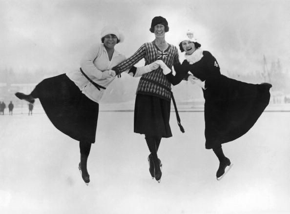 Figure skaters at the 1924 winter Olympics in Chamonix, France, 30th January 1924. Left to right: Herma Planck-Szabo of Hungary, Ethel Muckelt of Team GB and Beatrix Loughran of the U.S.A. Team GB's Muckelt taking the bronze medal. http://www.teamgb.com/games/chamonix-1924-0