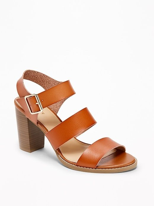 a595a01b966 Three-Strap Block-Heel Sandals for Women