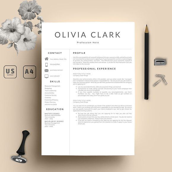Clean 2 Pages Resume Template Word by Equinox Studio on @creativemarket