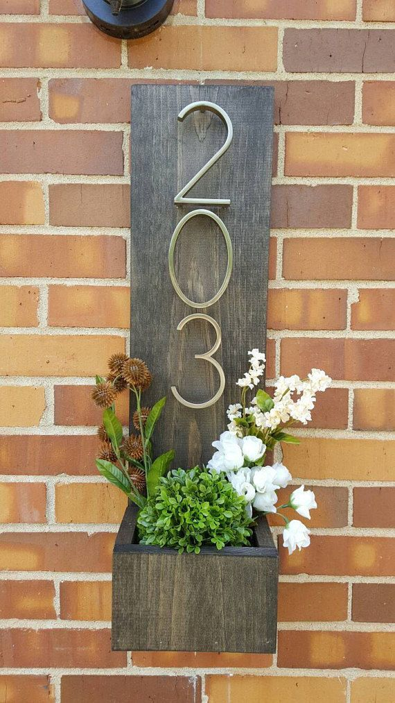 Rustic Address Planter, Address Sign, House Numbers Sign, Address Plaque, New House, Address Planter, Vertical Address Sign, Modern Numbers
