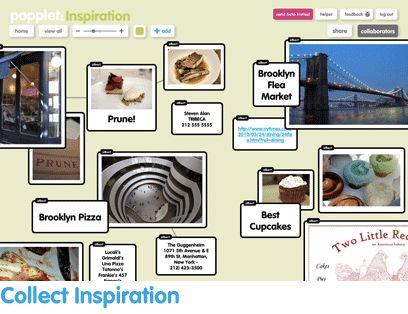 Popplet. Maak (samen) een online mindmap (en/of prikbord) met foto's en video's
