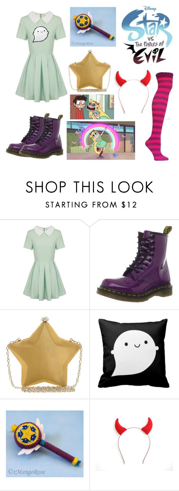 """Star VS The Forces of Evil"" by gryffindorgirl-i ❤ liked on Polyvore featuring Lavish Alice, Dr. Martens, Nali and Disney"