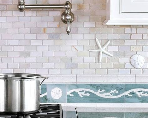 Coastal Kitchen Backsplash Ideas: http://www.completely-coastal.com/2015/11/kitchen-backsplash-ideas-beach-murals-nautical-ocean-blue-tiles.html From ceramic starfish tiles to beach murals to seaglass...