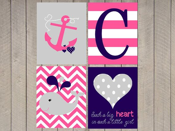 Nautical Nursery Art - Custom nursery art - set of four- Chevron - Chevron Initial - Anchor- Choose colors - Girls nautical on Etsy, $45.00