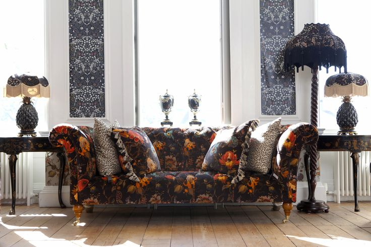 Part of the HOUSE OF HACKNEY x WILLIAM MORRIS AW15 collection: Artemis Black 'London' Sofa http://www.houseofhackney.com/artemis-london-sofa-black.html, Artemis Black Cushion http://www.houseofhackney.com/artemis-large-velvet-cushion-black.html, Blackthorn Black Wallpaper http://www.houseofhackney.com/blackthorn-wallpaper-black.html, Blackthorn Black 'Tilia' lampshade http://www.houseofhackney.com/blackthorn-tilia-velvet-table-lampshade-black.html