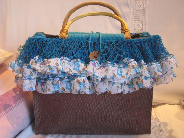 borsa in juta con decorazione rete e merletto