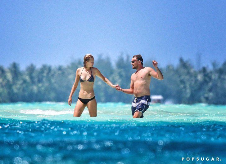 Pin for Later: The Best Celebrity Vacation Pictures From 2014!  Toni Garrn led the way for Leonardo DiCaprio as the two explored their never-ending view of blue in Bora Bora.