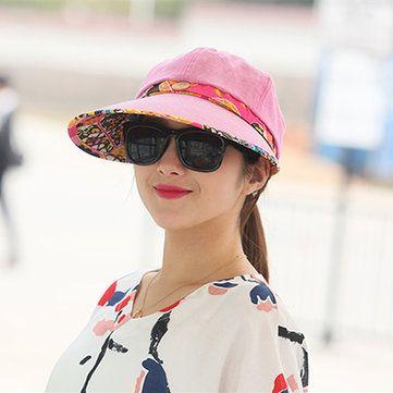 Women Foldable Summer UV Protection Beach Sunscreen Sun Hat Outdoor Gardening Visor Cap at Banggood
