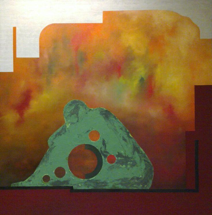 Oil and sand on canvas by Jesús Ojeda. Exedra 2. (120x120 cm) Year 2010