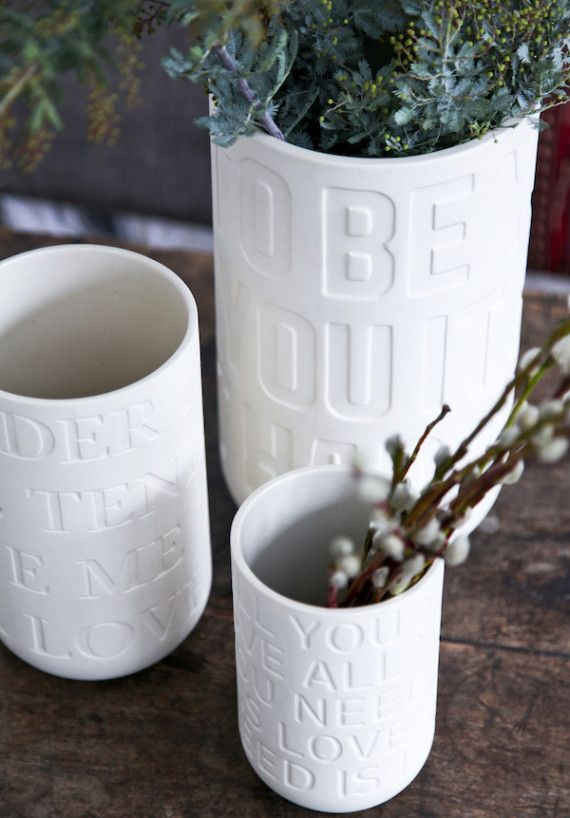 """Love Song is the name of a series of vases from the Danish company Kähler Design. It's vases with an love message, because the vases has known love song titles as imprinted decoration: """"Love Me Tender"""", """"All You Need Is Love"""" and """"It Had To Be You""""."""