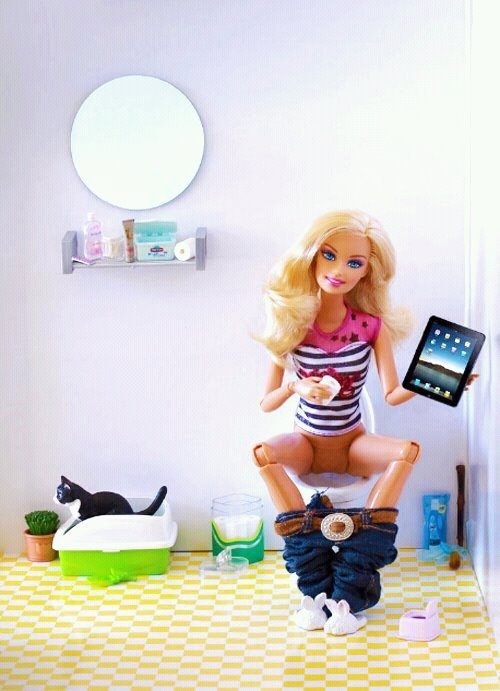 Bad Barbie I only pinned this cuz of the cute kitty and iPad of course